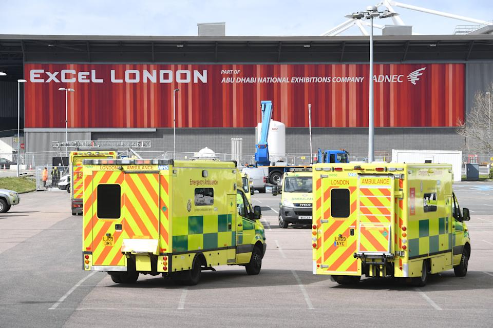 Ambulances at the ExCel centre in London, which is being made into a temporary hospital (Photo: PA)