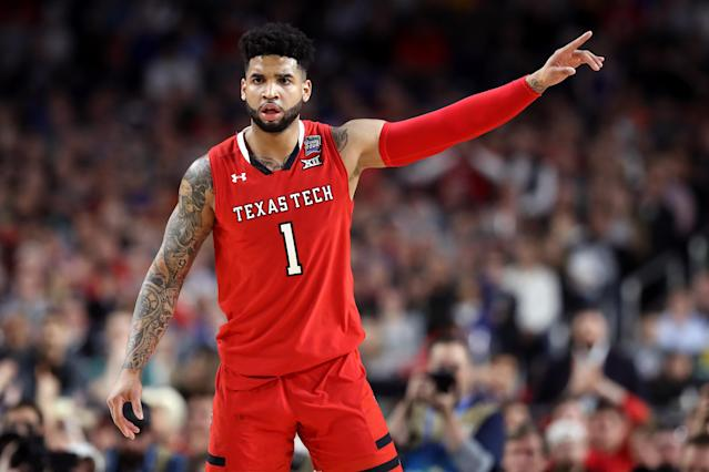 MINNEAPOLIS, MINNESOTA - APRIL 08: Brandone Francis #1 of the Texas Tech Red Raiders reacts against the Virginia Cavaliers in the first half during the 2019 NCAA men's Final Four National Championship game at U.S. Bank Stadium on April 08, 2019 in Minneapolis, Minnesota. (Photo by Streeter Lecka/Getty Images)