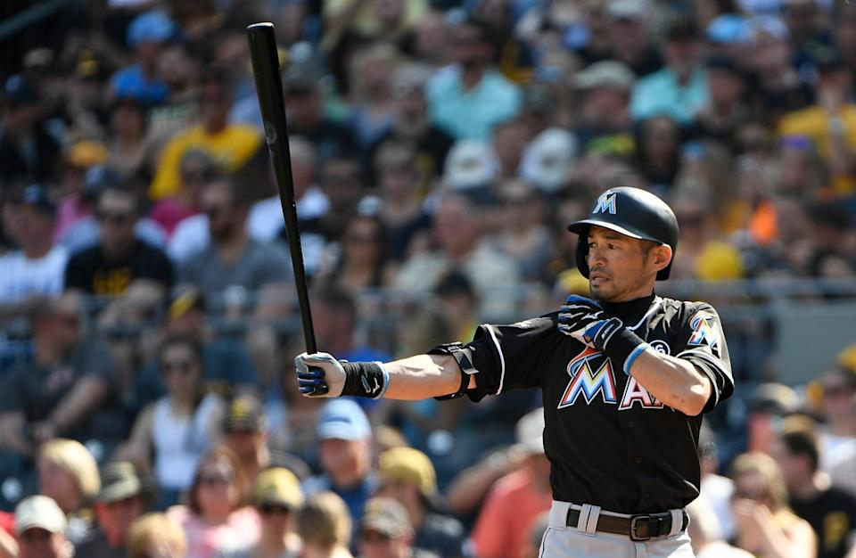 Ichiro Suzuki #51 of the Miami Marlins at bat in the third inning during the game against the Pittsburgh Pirates at PNC Park on June 10, 2017 in Pittsburgh, Pennsylvania.