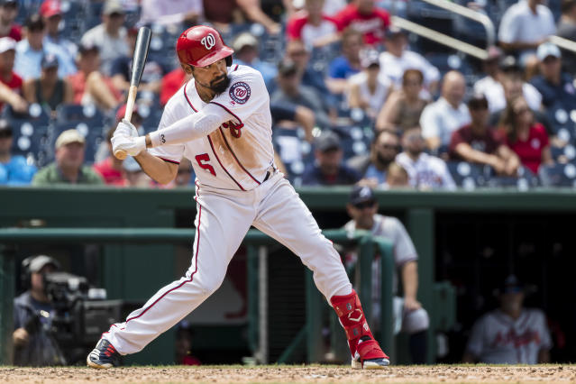 "WASHINGTON, DC - JULY 31: Anthony Rendon #6 of the <a class=""link rapid-noclick-resp"" href=""/mlb/teams/washington/"" data-ylk=""slk:Washington Nationals"">Washington Nationals</a> at bat against the <a class=""link rapid-noclick-resp"" href=""/mlb/teams/atlanta/"" data-ylk=""slk:Atlanta Braves"">Atlanta Braves</a> during the ninth inning at Nationals Park on July 31, 2019 in Washington, DC. (Photo by Scott Taetsch/Getty Images)"