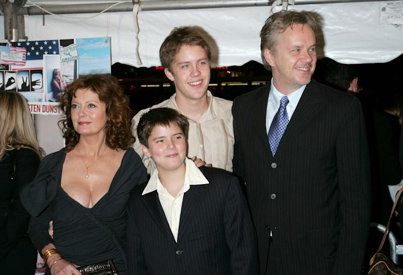 Susan Sarandon, Miles Robbins, Jack Robbins and Tim Robbins at a film premiere. (Photo by Jim Spellman/WireImage)