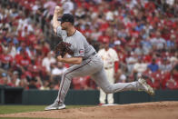 Minnesota Twins starting pitcher Bailey Ober throws during the first inning of a baseball game against the St. Louis Cardinals on Saturday, July 31, 2021, in St. Louis. (AP Photo/Joe Puetz)