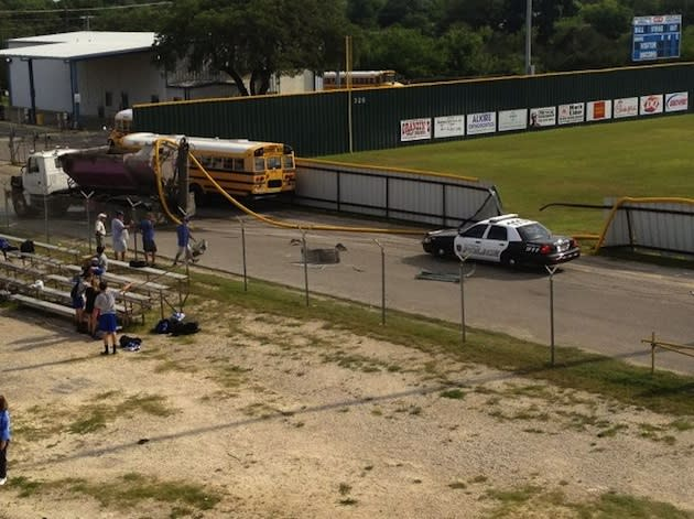 The aftermath of a cement truck's unplanned invasion of the New Braunfels baseball field — Twitter