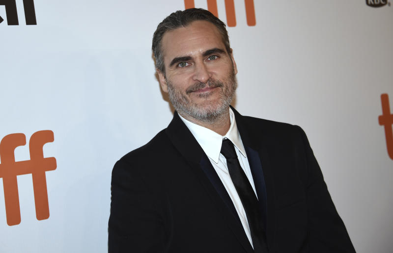 "Joaquin Phoenix attends a premiere for ""The Joker"" on day five of the Toronto International Film Festival at Roy Thomson Hall on Monday, Sept. 9, 2019, in Toronto. (Photo by Evan Agostini/Invision/AP)"