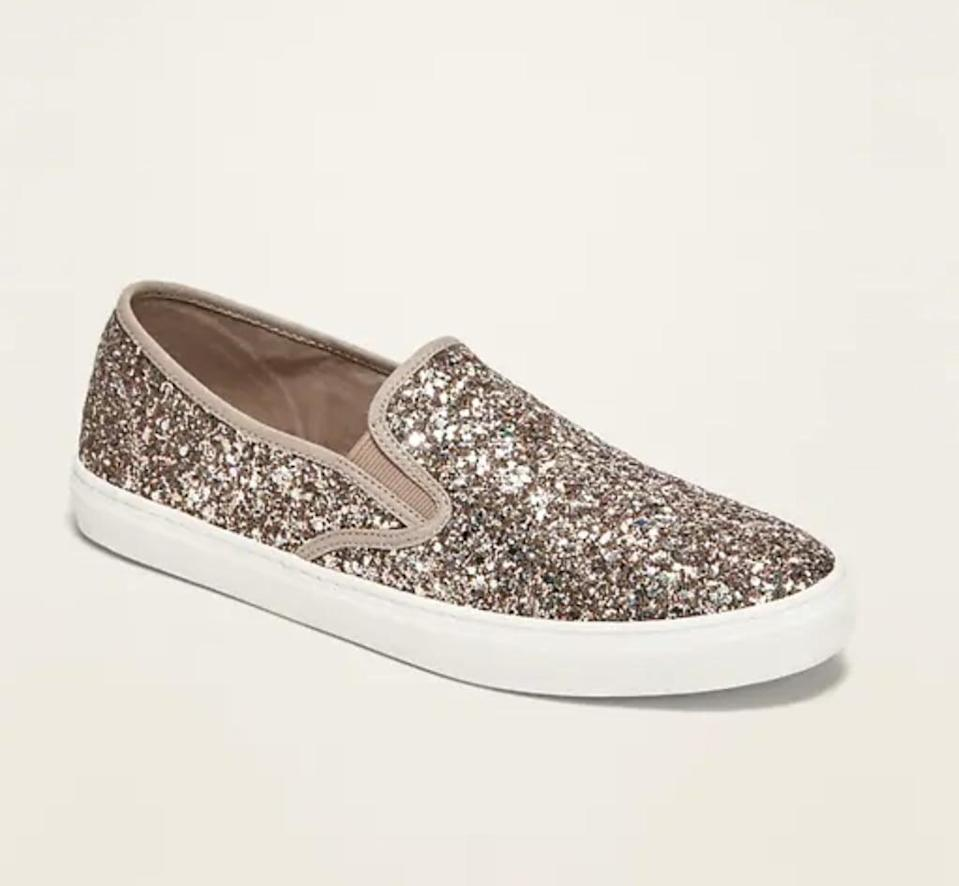 <p>These shimmery <span>Old Navy Glitter Slip-On Sneakers</span> ($30) look super comfortable.</p>