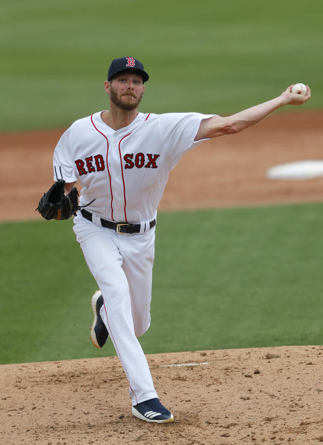 Boston Red Sox starting pitcher Chris Sale (41) works against the Atlanta Braves in the second inning of a spring training baseball game Saturday, March 16, 2019, in Fort Myers, Fla. (AP Photo/John Bazemore)
