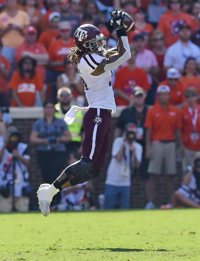 Texas A&M's Kendrick Rogers pulls in a reception during the first half of an NCAA college football game against Clemson Saturday, Sept. 7, 2019, in Clemson, S.C. (AP Photo/Richard Shiro)