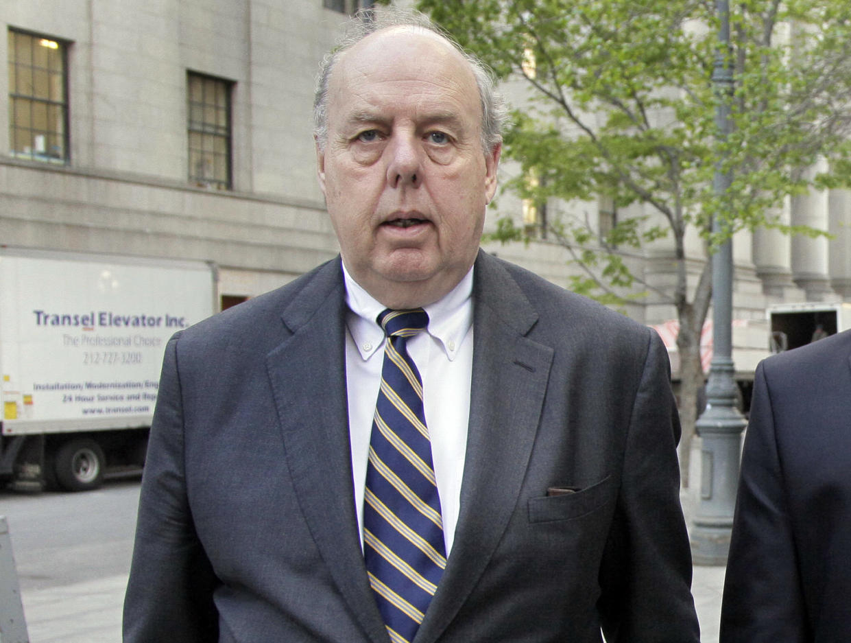 """John Dowd, who had been President Trump's lead lawyer in the Russia investigation, has left the legal team. Dowd says he """"loves the president"""" and wishes him well. (Photo: Richard Drew/AP)"""