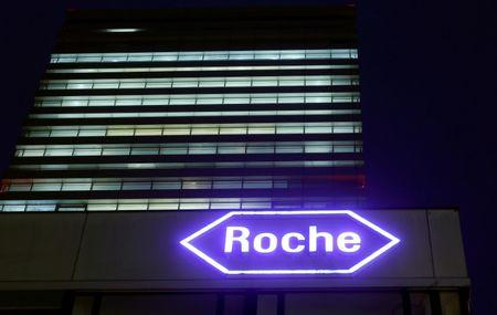 FILE PHOTO: FILE PHOTO: Swiss drugmaker Roche's logo is seen at their headquarters in Basel, Switzerland January 28, 2016. REUTERS/Arnd Wiegmann/File Photo