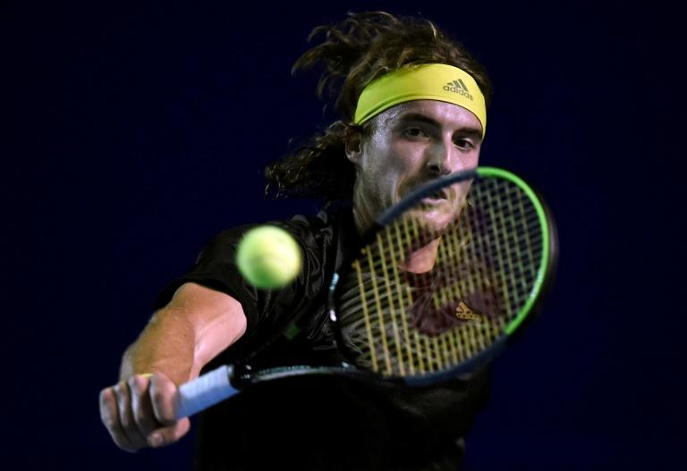 Greece's Stefanos Tsitsipas on the way to a straight-set victory over qualifier Lorenzo Musetti of Italy in the semi-finals of the ATP Acapulco tournament