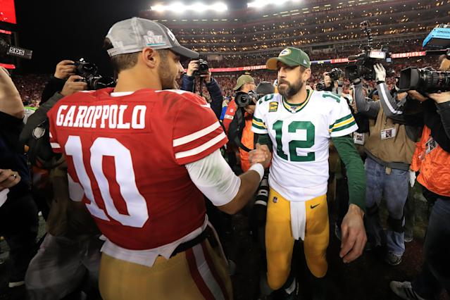 Does Sunday's NFC championship loss signal it's time for Packers QB Aaron Rodgers to start thinking about his football mortality? (Photo by Sean M. Haffey/Getty Images)