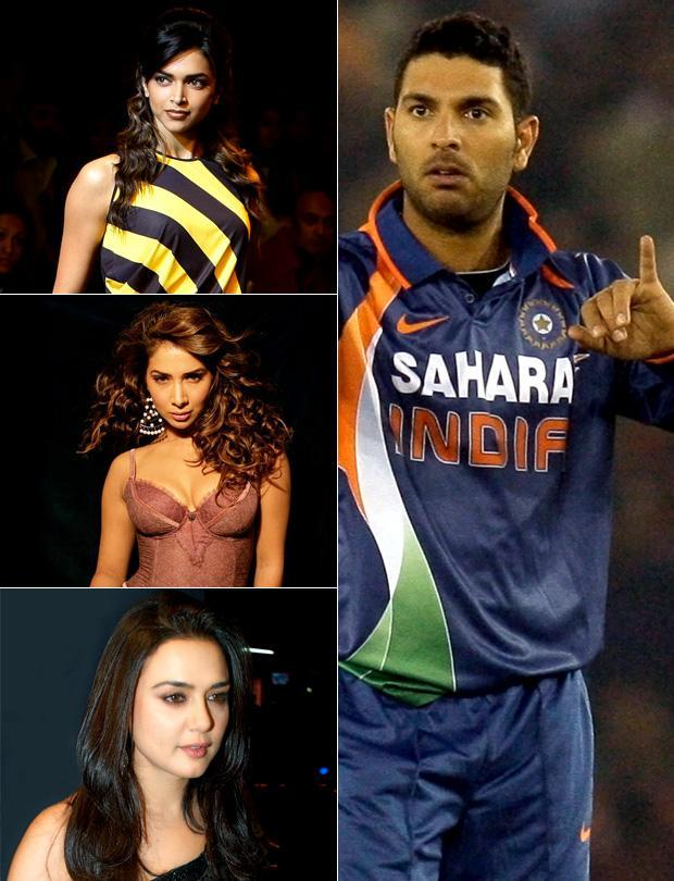 Yuvraj Singh: Deepika Padukone,   Kim Sharma, Preity Zinta, Neha Dhupia, Anchal Kumar, Akshara Gowda, Ameesha Patel... <p> </p> Yuvi is an all rounder no doubt. On the field and off it too. He was seen with the beautiful Kim Sharma. The papparazi did over time and proclaimed them an item. It sure looked like a perfect love story for a long four years. Then, from somewhere out of the blue we read that it was Deepika Padukone he was seeing. During the IPL season 2, we saw Preity Zinta along with this dashing young King' X1 skipper. Then came a special invite to Ameesha Patel for the World Cup finals and a dinner bash where he had Neha Dhupia on his arm. We heard he was dating Anchal Kumar and then again we heard about an Akshara Gowda. No, we don't believe in the rumours.