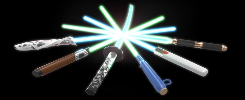 The six sabers from the DESIGN X SABER project