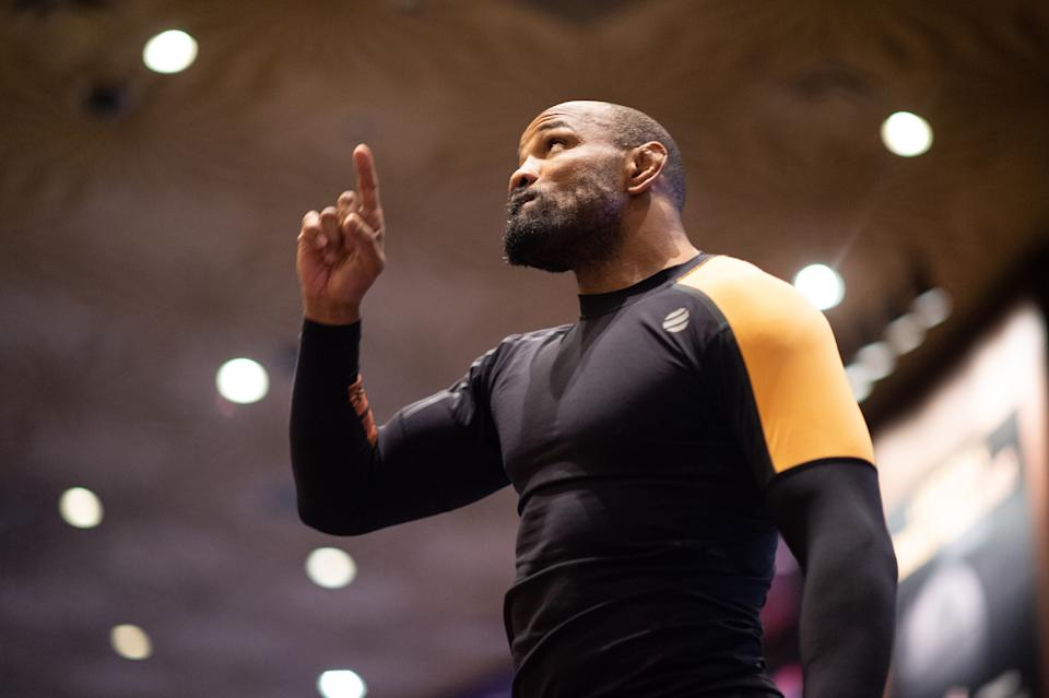 LAS VEGAS, NV - MARCH 04:  Yoel Romero of Cuba holds an open training session for fans and media during the UFC 248 Open Workouts at MGM Grand on March 4, 2020 in Las Vegas, Nevada. (Photo by Chris Unger/Zuffa LLC via Getty Images)