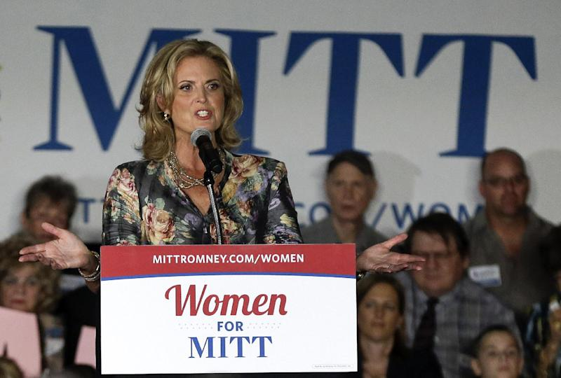 FILE - In this Oct. 1, 2012 file photo, Ann Romney, wife of Republican presidential candidate, former Massachusetts Gov. Mitt Romney, speaks, in Las Vegas. She's her husband's chief defender, even taking on his GOP critics. Since the GOP convention, Ann Romney has been venturing out on her own and working to woo women who polls show like President Barack Obama more than her husband. (AP Photo/Julie Jacobson, File)