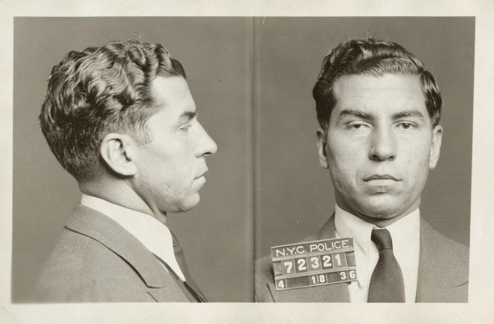 """In this April 18, 1936 photo provided by the New York City Municipal Archives, the police booking photo of Charles """"Lucky"""" Luciano is shown in New York. Over 870,000 photos from an archive that exceeds 2.2 million images have been scanned and made available online, for the first time giving a global audience a view of a rich collection that documents life in New York City. (AP Photo/New York City Municipal Archives, DA Case Files)"""