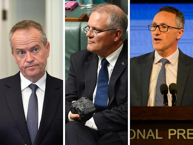 Opposition leader Bill Shorten, Prime Minister Scott Morrison, and the Greens' leader Richard Di Natale: What are their stances on climate change? (Photos: AAP)