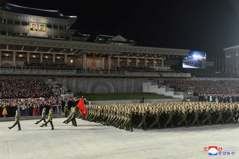North Korea put tractors and fire engines on show rather than the more usual tanks and missiles at a parade in Pyongyang (AFP/STR)