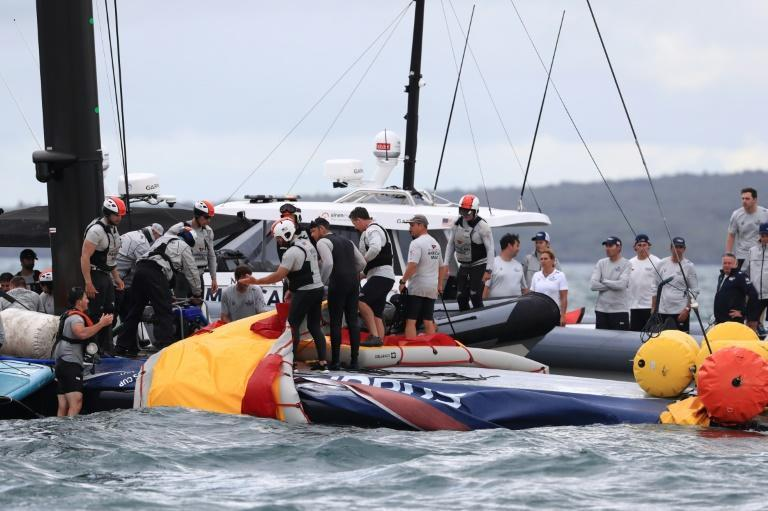 Sailors and rescuers took part the rescue operation after American Magic capsized