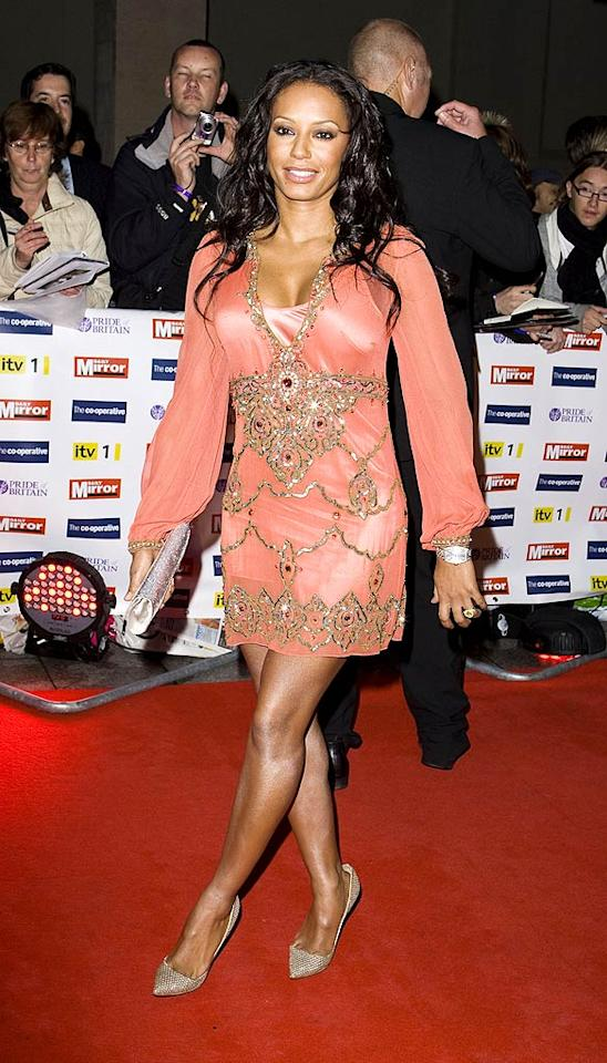 """Joining Baby Spice at the star-studded soiree was Scary Spice Melanie Brown, who rocked a bedazzled sleeved mini and metallic heels. Mike Marsland/<a href=""""http://www.wireimage.com"""" target=""""new"""">WireImage.com</a> - October 5, 2009"""