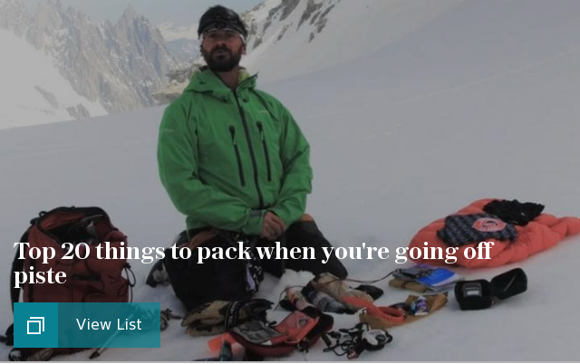 Top 20 things to pack when going off piste ski