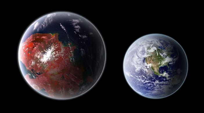 <p>This super Earth exoplanet takes 112.3 Earth days to orbit its K-type, orange dwarf star, which is 1,206 light-years away from Earth. The rocky world has a mass 2.36 times that of our planet. </p>