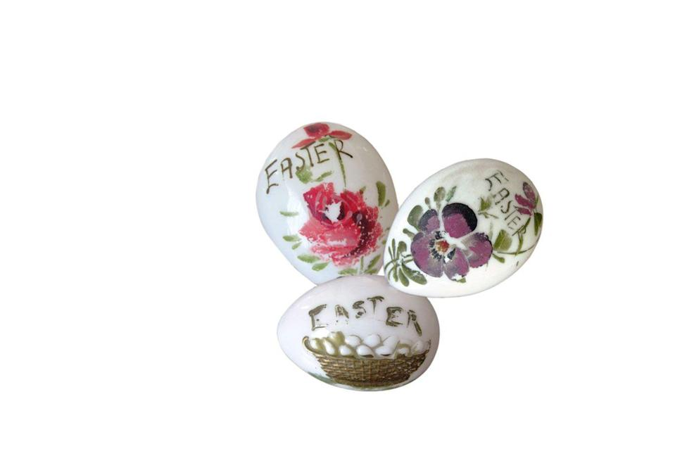 <p>These delicate handblown milk glass eggs were originally sold blank so that Victorian ladies could embellish them with spring greetings and scenes. Over time, the sentiments were usually damaged by washing or handling, says appraiser Marsha Dixey of Heritage Auctions.</p><p><strong>What it's worth:</strong> $775 for set</p>