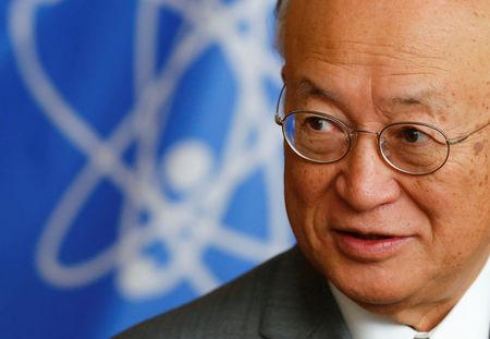 IAEA Director General Amano reacts during an interview with Reuters in Vienna