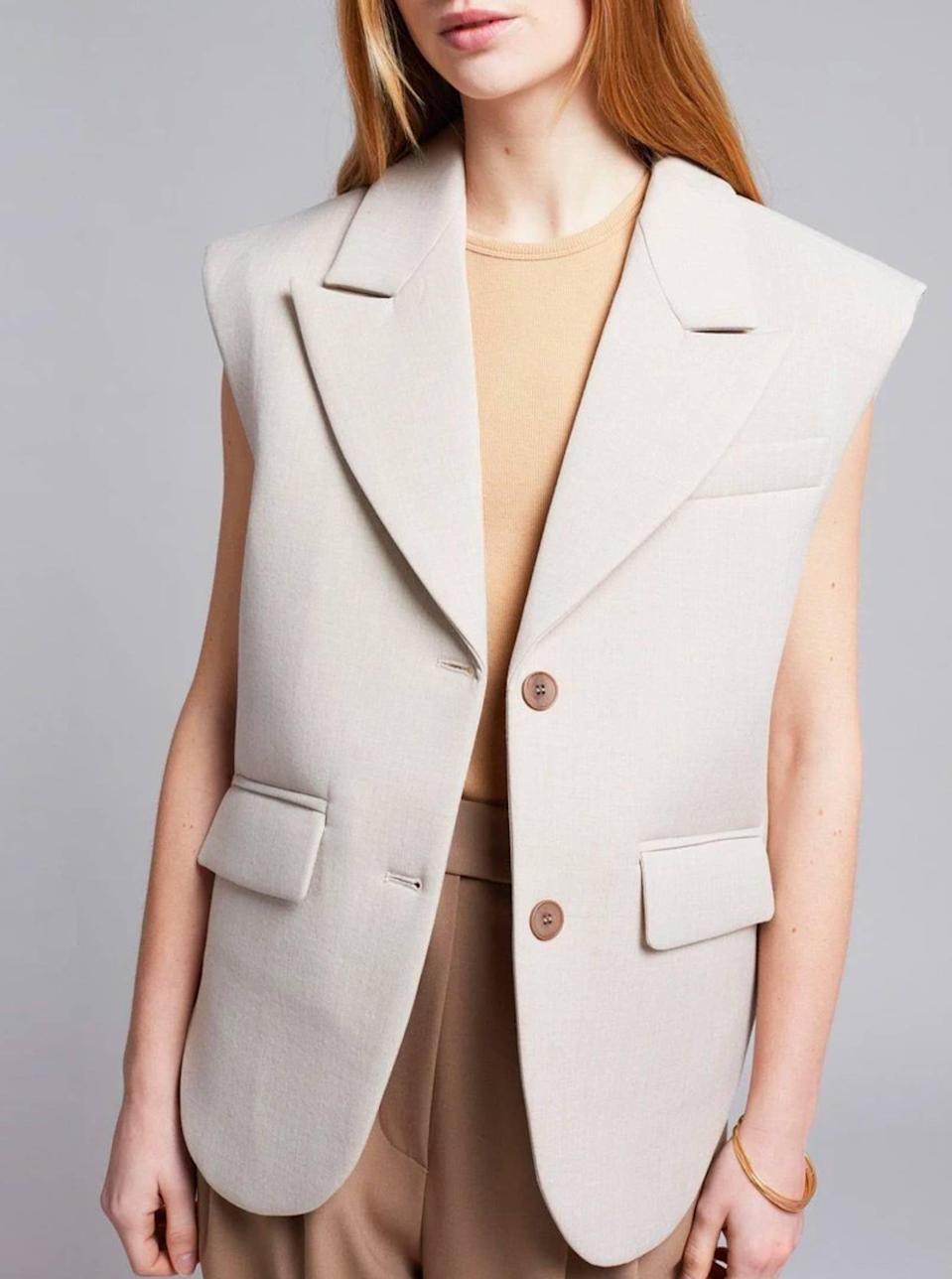 """$179, The Frankie Shop. <a href=""""https://thefrankieshop.com/products/mari-padded-tailored-vest-peyote"""" rel=""""nofollow noopener"""" target=""""_blank"""" data-ylk=""""slk:Get it now!"""" class=""""link rapid-noclick-resp"""">Get it now!</a>"""
