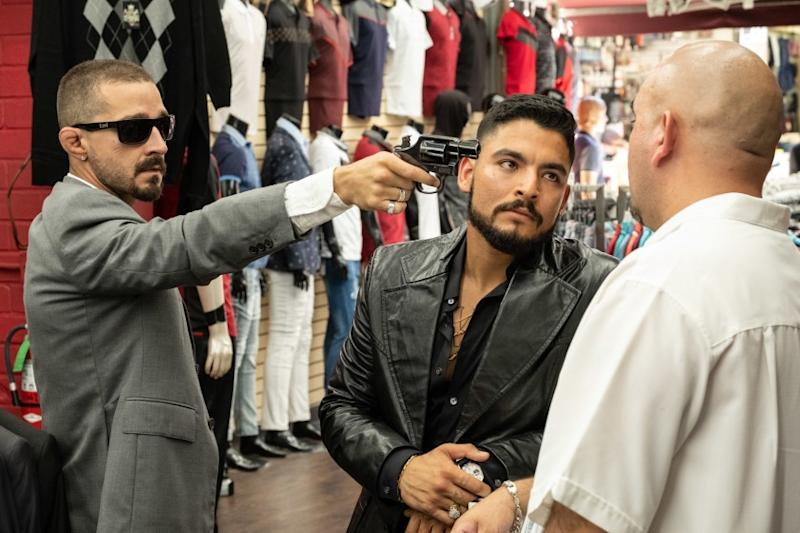 """Shia LaBeouf, left, plays an enforcer for an L.A. drug family, and a right-hand man to lead Bobby Soto, in """"The Tax Collector"""" by David Ayer."""