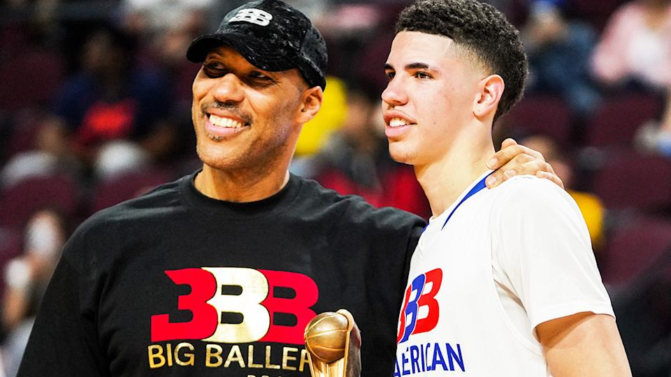 LaVar and LaMelo Ball, pictured here at the Big Baller Brand All American Game in 2019.
