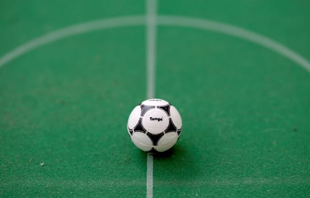 "A close-up of a Subbuteo football is seen in Rome, Italy, May 13, 2018. REUTERS/Alessandro Bianchi SEARCH ""FOOTBALL GLOBAL"" FOR THIS STORY. SEARCH ""WIDER IMAGE"" FOR ALL STORIES."