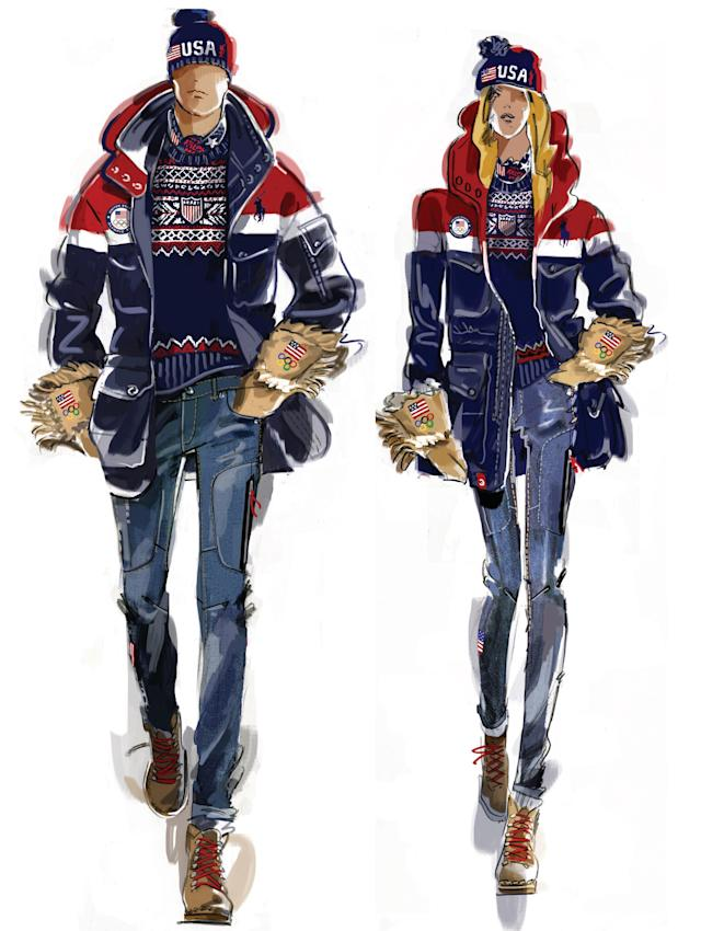<p>This is a sketch of the uniforms, designed by Ralph Lauren, that Team USA will wear for the opening ceremony. (Photo: courtesy of Ralph Lauren) </p>