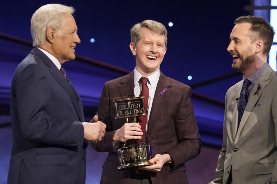 JEOPARDY! THE GREATEST OF ALL TIME - On the heels of the iconic Tournament of Champions, JEOPARDY! is coming to ABC in a multiple consecutive night event with JEOPARDY! The Greatest of All Time, premiering TUESDAY, JAN. 7 (8:00-9:00 p.m. EST), on ABC.  (Eric McCandless/ABC via Getty Images) ALEX TREBEK, KEN JENNINGS, BRAD RUTTER
