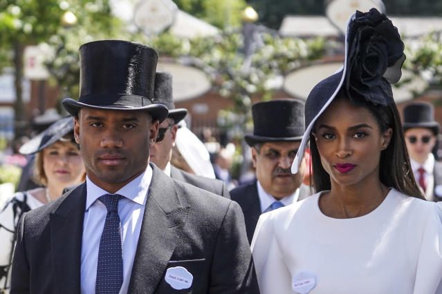 Russell Wilson and Ciara made a stylish statement at Royal Ascot. (Photo: Alan Crowhurst/Getty Images for Ascot Racecourse)