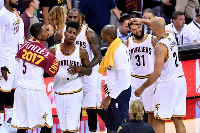 <p>CLEVELAND, OH – JUNE 09: JR Smith #5, Iman Shumpert #4, LeBron James #23, James Jones #1, Deron Williams #31 and Richard Jefferson #24 of the Cleveland Cavaliers react in the third quarter after a play against the Golden State Warriors in Game 4 of the 2017 NBA Finals at Quicken Loans Arena on June 9, 2017 in Cleveland, Ohio. (Photo by Jason Miller/Getty Images) </p>
