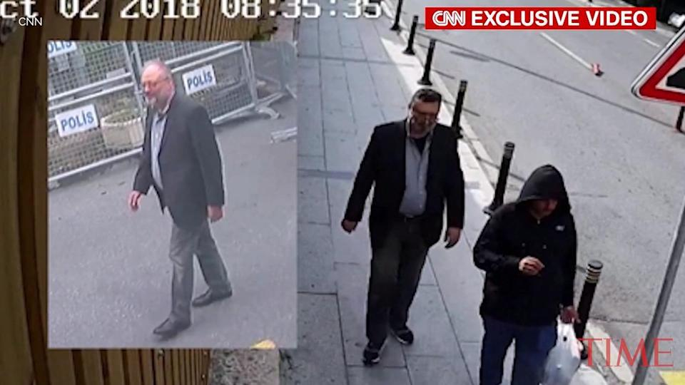 Newly leaked footage appears to show a man walking around in Jamal Khashoggi's clothes in Istanbul after his killing. (CNN)