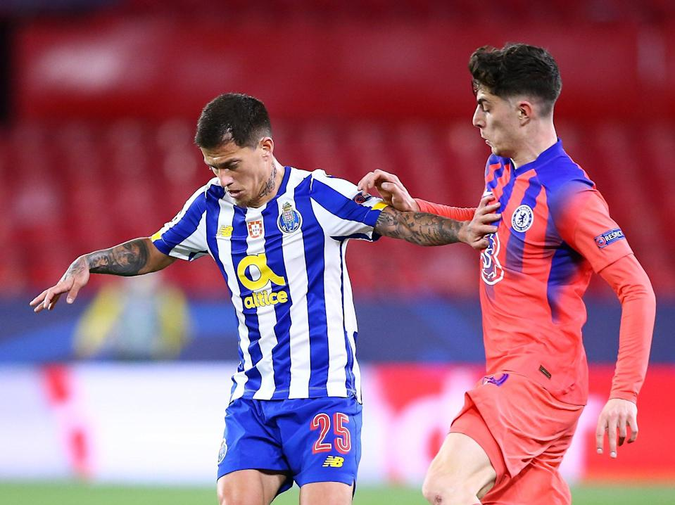 Chelse midfielder Kai Havertz (right) challenges Porto's Otavio (Getty Images)