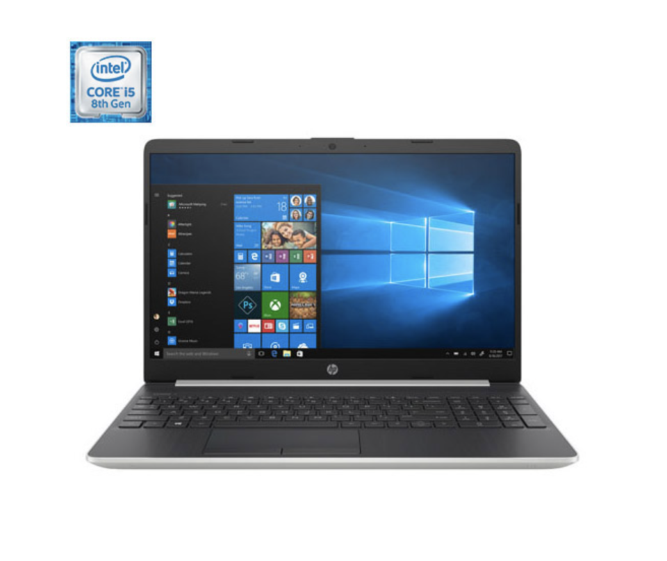 open HP laptop with black keyboard and blue screen showing icons