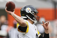 Pittsburgh Steelers quarterback Mason Rudolph throws during the first half of an NFL football game against the Cleveland Browns, Sunday, Jan. 3, 2021, in Cleveland. (AP Photo/Ron Schwane)