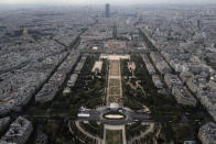 View from the third level and top of the Eiffel Tower of the Champ de Mars and Montparnasse Tower in the background, during the opening up of the top floor of the Eiffel Tower, Wednesday, July 15, 2020 in Paris. The top floor of Paris' Eiffel Tower reopened today as the 19th century iron monument re-opened its first two floors on June 26 following its longest closure since World War II. (AP Photo/Francois Mori)