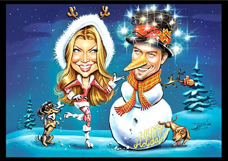 Fergie and Josh Duhamel hired a charicature artist to offer his rendition of the happy couple on Christmas.