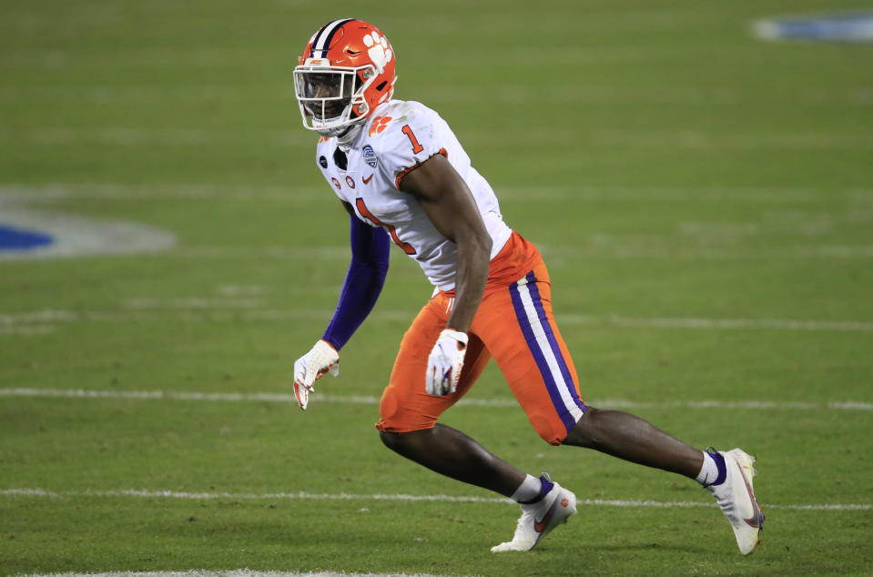 Clemson cornerback Derion Kendrick (1) during the second half of the Atlantic Coast Conference championship NCAA college football game, Saturday, Dec. 19, 2020, in Charlotte, N.C. (AP Photo/Brian Blanco)