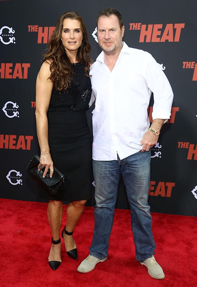 "NEW YORK, NY - JUNE 23: (L-R) Brooke Shields and Chris Henchy attends ""The Heat"" New York Premiere at Ziegfeld Theatre on June 23, 2013 in New York City. (Photo by Astrid Stawiarz/Getty Images)"