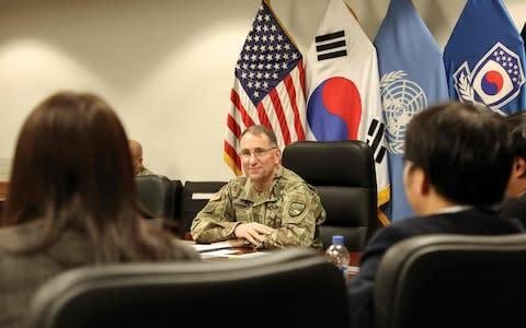 """<span>Seoul's decision to terminate the intelligence sharing pact with Japan risks sending the """"wrong message"""", said General Robert B. Abrams, commander of United States Forces Korea</span> <span>Credit: STAFF SGT. MARCUS BUTLER/UNITED STATES FORCES KOREA/AFP via Getty Images </span>"""
