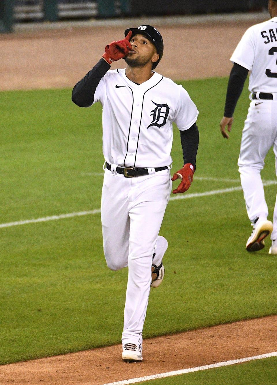 Tigers center fielder Victor Reyes celebrates his home run during the eighth inning of the Tigers' 10-4 win over the Rays on Friday, Sept. 10, 2021, at Comerica Park.