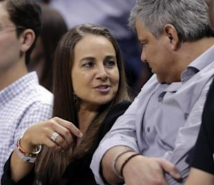 Becky Hammon attends Game 5 of the Spurs-Mavericks playoffs series. (AP)