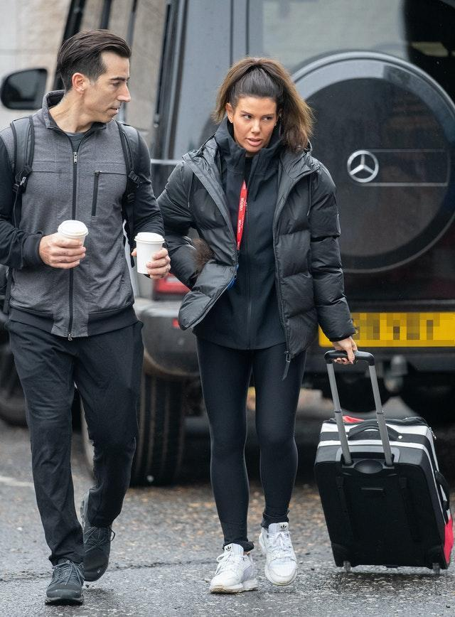Rebekah Vardy and dance partner Andy Buchanan arrives at the National Ice Centre in Nottingham for a Dancing On Ice 2021 training session whilst a High Court hearing in her high-profile libel battle against Coleen Rooney is taking place in London