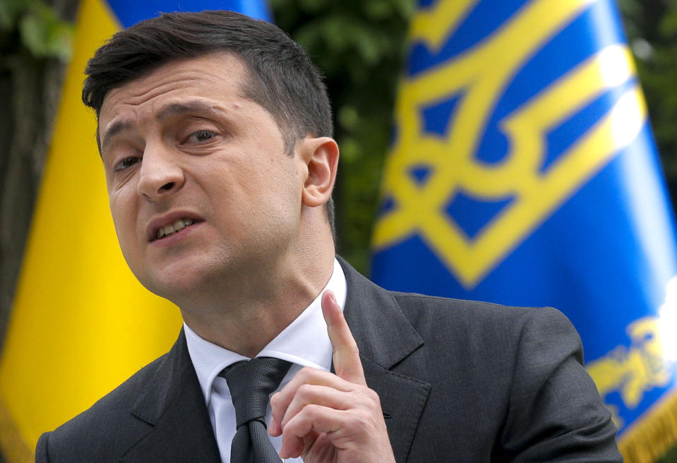 FILE In this file photo taken on Wednesday, May 20, 2020, Ukraine's President Volodymyr Zelenskiy speaks to the media during a news conference in Kyiv, Ukraine. Ukrainians are heading to the polls on Sunday, Oct. 25, 2020 to cast ballots in local elections seen as a key test for President Volodymyr Zelenskiy. Zelenskiy, a popular comedian without prior political experience, was elected by a landslide in April 2019 on promises to end fighting with Russia-backed separatists in eastern Ukraine, uproot endemic corruption and shore up a worsening economy. (Sergey Dolzhenko/Pool Photo via AP, File)