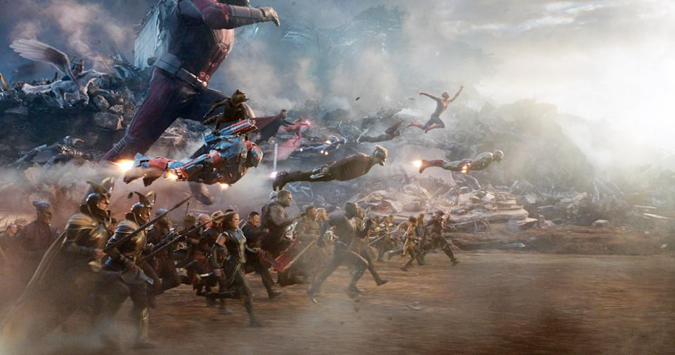 The Avengers assemble and attack Thanos in 'Avengers: Endgame' (Photo: Walt Disney Studios Motion Pictures / © Marvel Studios / courtesy Everett Collection)